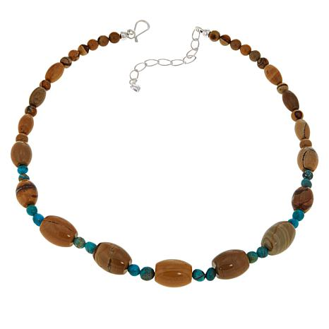 Jay King Sterling Silver Picture Jasper and Turquoise Necklace