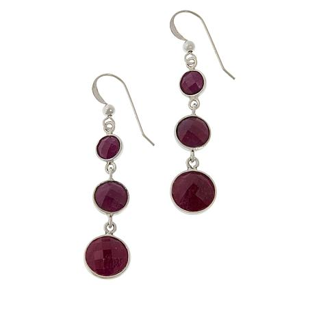 Jay King Sterling Silver Raspberry Sapphire Drop Earrings
