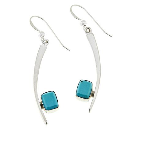 Jay King Sterling Silver Rectangular Sonoran Blue Turquoise Earrings