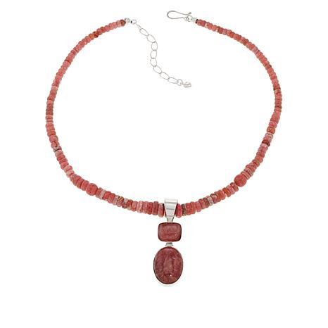 Jay King Sterling Silver Rhodochrosite Pendant with Necklace