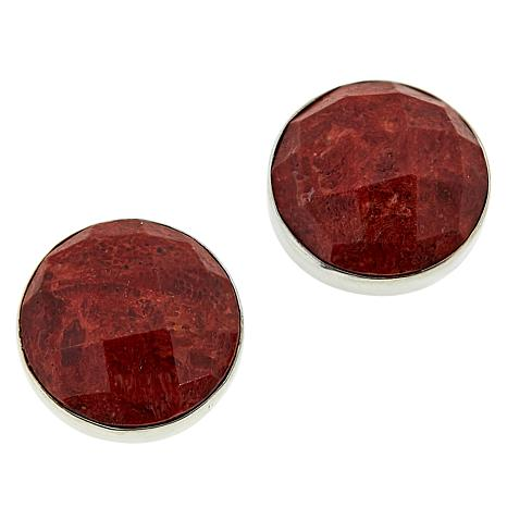 Jay King Sterling Silver Round Red Coral Stud Earrings