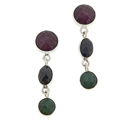 Jay King Sterling Silver Sapphire and Emerald Drop Earrings