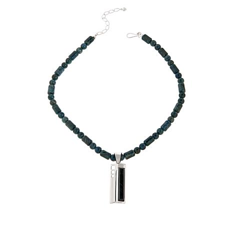 Jay King Sterling Silver Teal Apatite Rectangular Pendant w/Necklace
