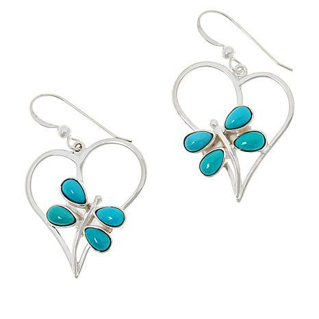 Sterling Turquoise Heart Earrings