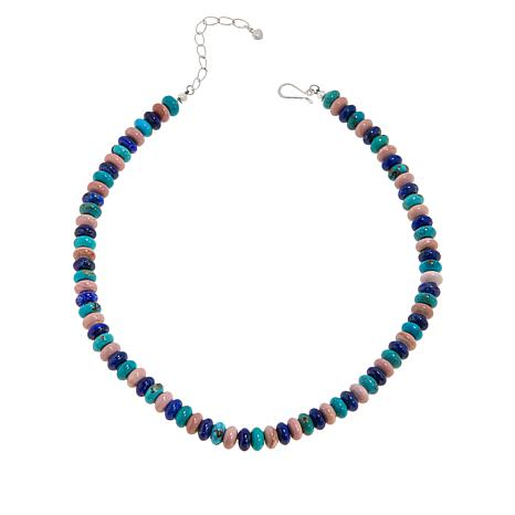 Jay King Sterling Silver Turquoise, Pink Opal and Lapis Bead Necklace