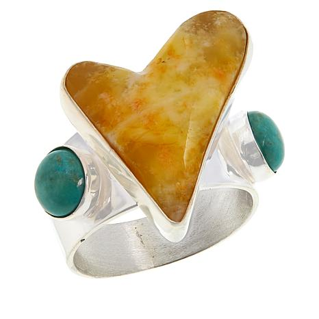 Jay King Sterling Silver Yellow Opal and Turquoise Heart Ring