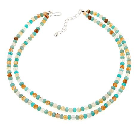 """Jay King Sunshine and Honeydew Quartz 18"""" Sterling Silver Necklace"""