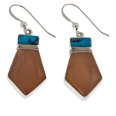Jay King Sunstone and Turquoise Sterling Silver Drop Earrings