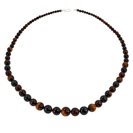 Jay King Tiger and Hawk's Eye Graduated Bead Necklace