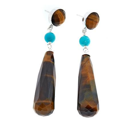 Jay King Tiger's Eye and Turquoise Drop Sterling Silver Earrings