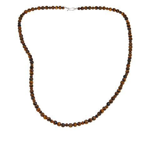 "Jay King Tiger's Eye Bead Sterling Silver 36"" Necklace"