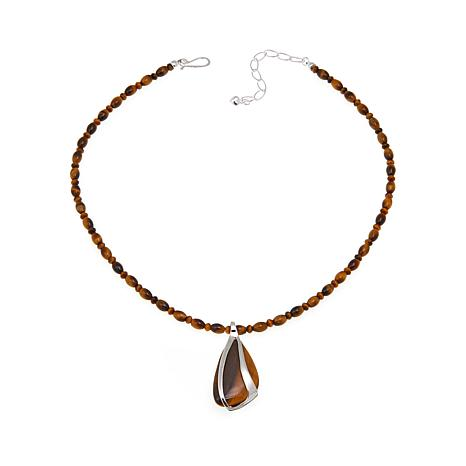 "Jay King Tiger's Eye Pendant with 18"" Necklace"