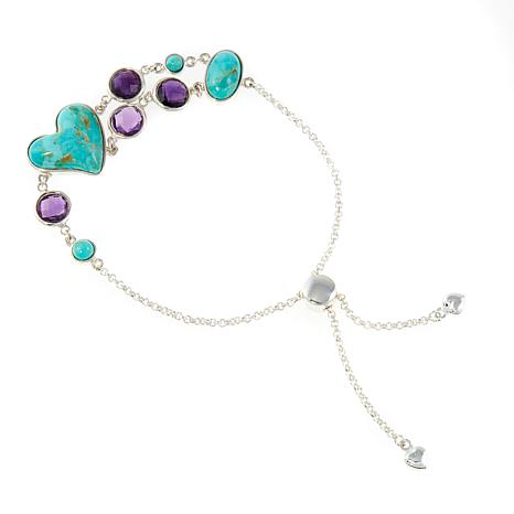 Jay King Turquoise and Amethyst Adjustable Bracelet
