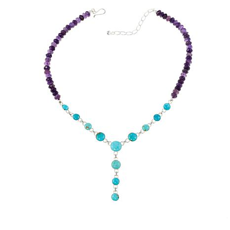 "Jay King Turquoise and Amethyst Y-Drop 18"" Necklace"