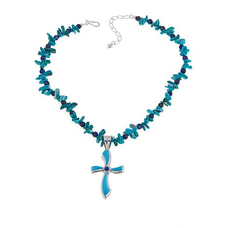 Jay king turquoise and lapis cross sterling silver pendant with 18 jay king turquoise and lapis cross pendant necklace aloadofball Image collections