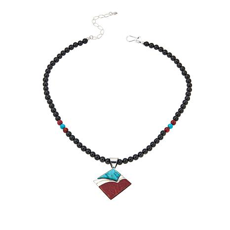 "Jay King Turquoise and Red Coral Pendant with 18-1/4"" Beaded Necklace"