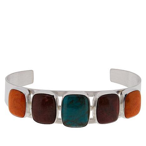 Jay King Turquoise Hill and Coral Gem Cuff Bracelet