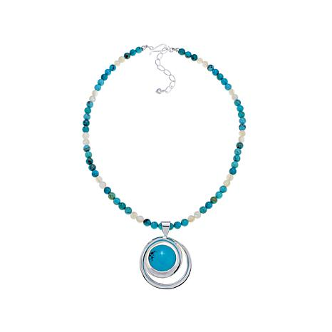"Jay King Turquoise Pendant with 18"" Beaded Necklace"
