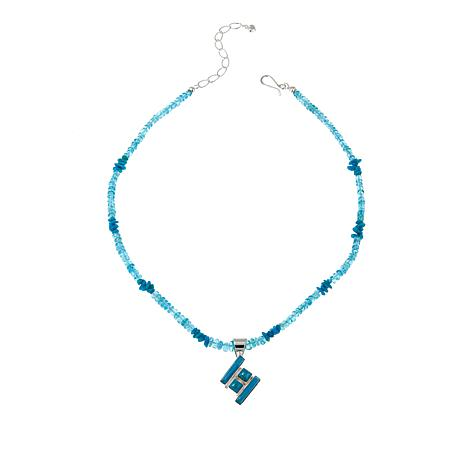 "Jay King Turquoise Pendant with 18"" Multigemstone Bead Necklace"