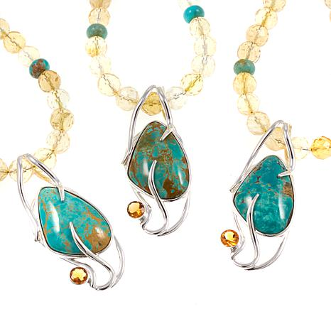"Jay King Tyrone Turquoise and Citrine Pendant with 18-1/4"" Necklace"