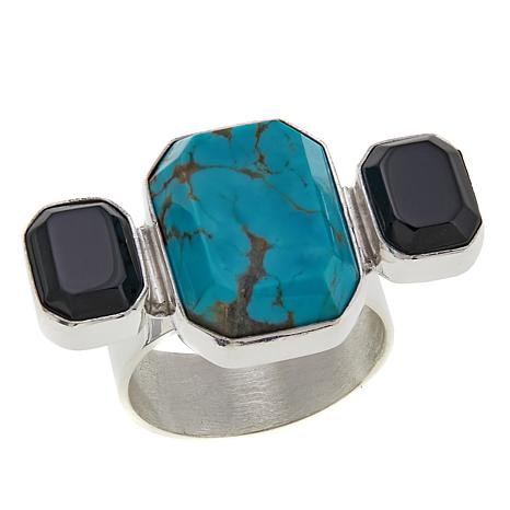 Jay King Tyrone Turquoise and Smoky Quartz Sterling Silver Ring