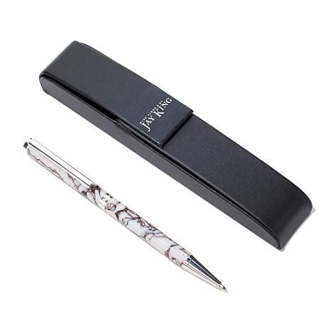 Jay King White and Black Mineral Composite Pen w/Case