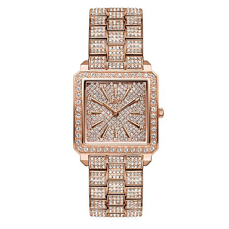 JBW Cristal Rose-Tone 12-Diamond & Crystal Square Dial Bracelet Watch