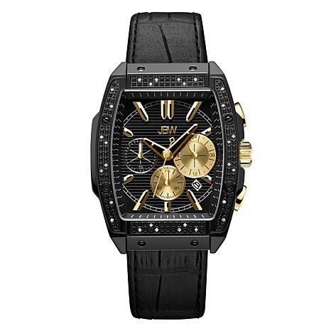 "JBW  ""Echelon"" Men's Black .28ctw Croco-Embossed Leather Watch"