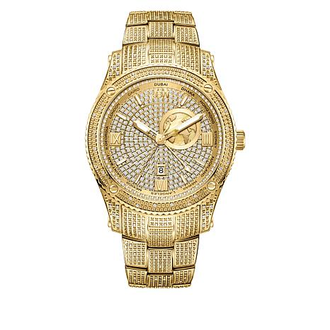"JBW Men's ""Jet Setter"" Goldtone 1ctw Diamond Bracelet Watch"
