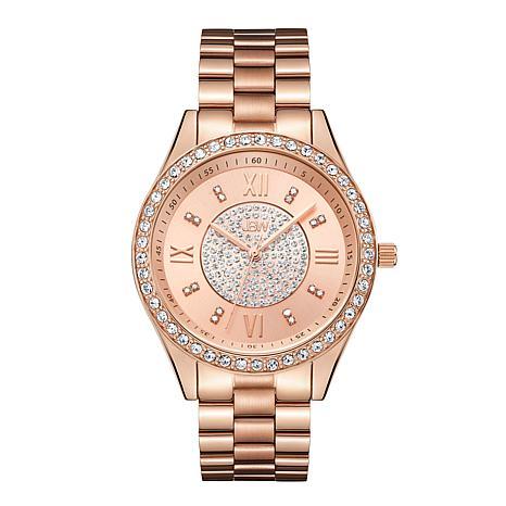 JBW Mondrian 18K Rose Gold-Plated Diamond and Crystal Bracelet Watch