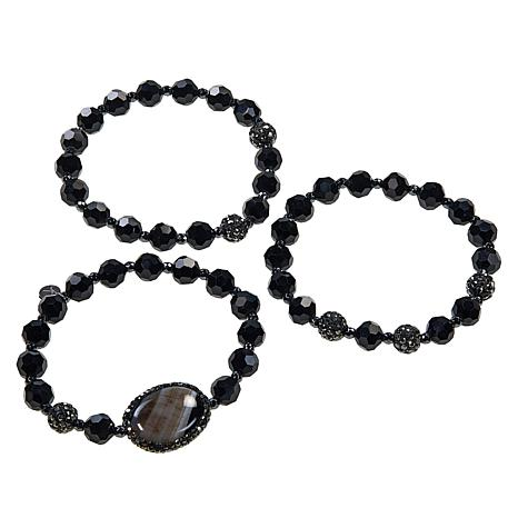 JK NY Agate Station Colored Bead 3-piece Stretch Bracelet Set