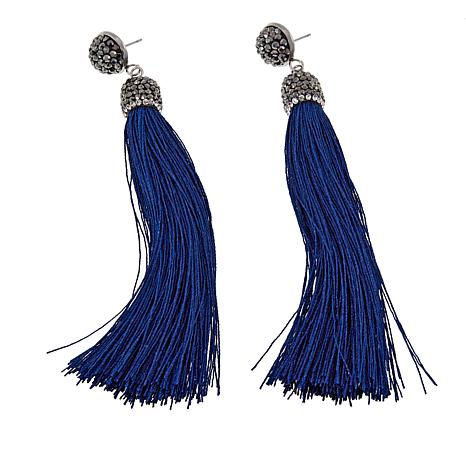 JK NY Clear and Black Stone Thread Tassel Earrings