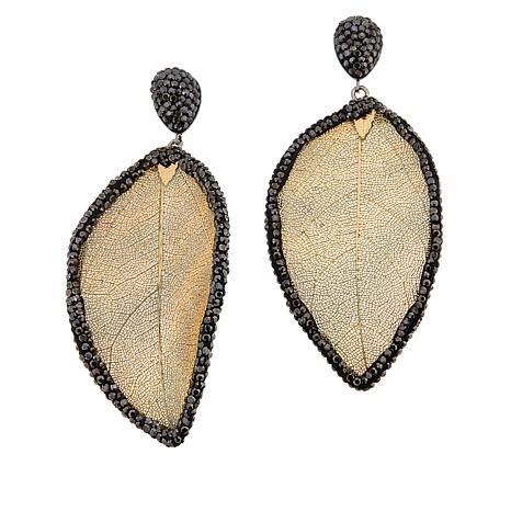 JK NY Leaf Design Beaded Frame Drop Earrings