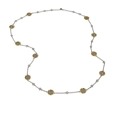 """Joan Boyce 48"""" Two-Tone Cubic Zirconia and Coin Layering Necklace"""