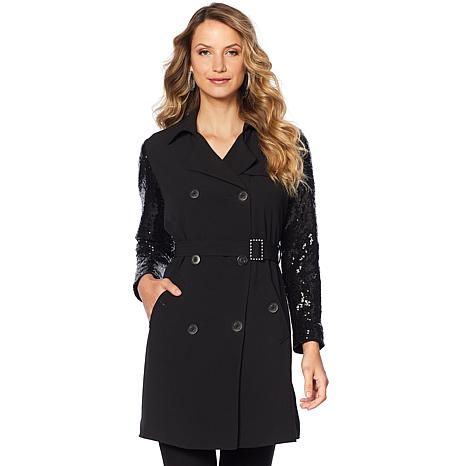 Joan Boyce Black Sequin Double-Breasted Trench Coat