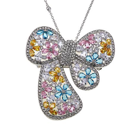 """Joan Boyce Stephanie's """"Bowed and Beautiful"""" Floral Bow Pin/Pendant"""