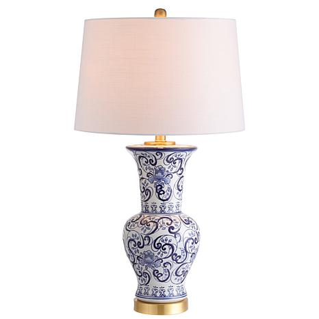 """JONATHAN Y Blue and White Leo 28.5"""" Chinoiserie LED Table Lamp"""