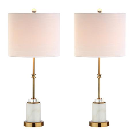 "JONATHAN Y Brass Harper 22"" Marble Crystal LED Set of 2 Table Lamp"
