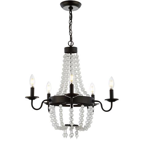 "JONATHAN Y Bronze & Clear Nova 21.5"" 5-Light Acrylic Beaded Chandelier"