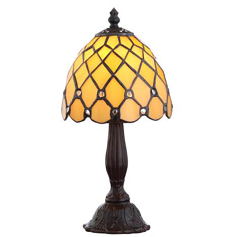 """JONATHAN Y Bronze Campbell Tiffany-Style 12.5"""" LED Table Lamp"""