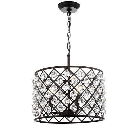 "JONATHAN Y Oil-Rubbed Bronze Gabrielle 16"" Crystal Metal LED Pendant"