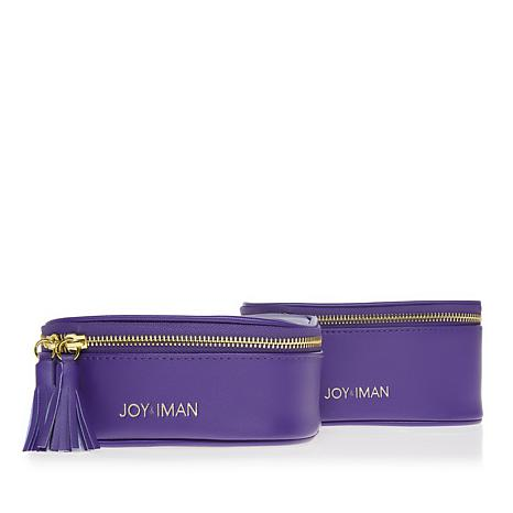 JOY & IMAN 2-piece Tassel Chic Leather Travel Pouches