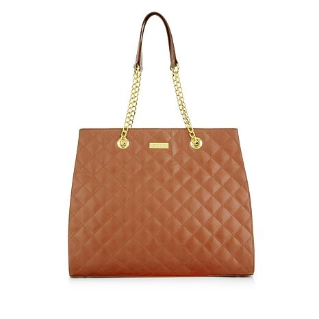 f7acc075c JOY & IMAN Diamond Quilted Genuine Leather Satchel with RFID - 8534792   HSN