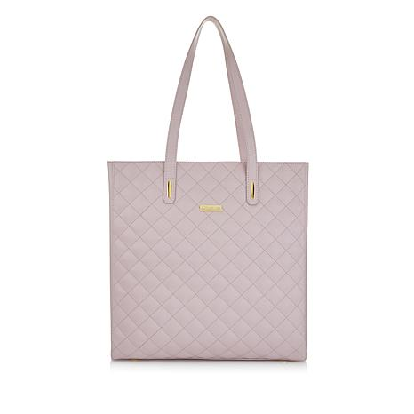 JOY & IMAN Diamond Quilted Genuine Leather Tote Bag with RFID