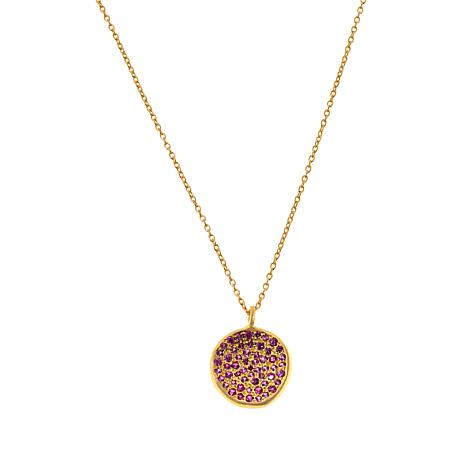 "Joya 16"" Goldtone Sterling Silver Gemstone Pavé Pendant Necklace"