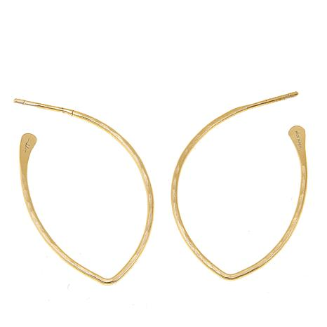 Joya Goldtone Elongated Hoop Earrings