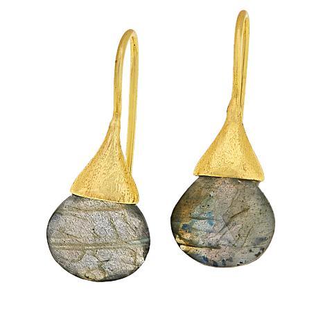 Joya Goldtone Labradorite Teardrop Earrings