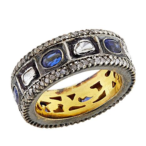 Joya Goldtone Sterling Silver 2.29ctw Kyanite and Diamond Band Ring
