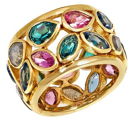 Joya Goldtone Sterling Silver Rainbow Multi-Stone Wide Band Ring