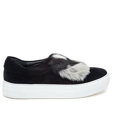 J/Slides NYC Alexi Suede and Faux Fur Slip-On Sneaker
